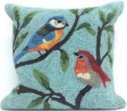Trans-Ocean Frontporch Pillow Birds On Branches 2270/04 Aqua