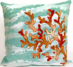 Trans-Ocean Visions Iii Pillow Coral Wave 4158/04 Aqua Area Rug