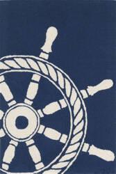 Trans-Ocean Frontporch Ship Wheel 1456/33 Navy Area Rug