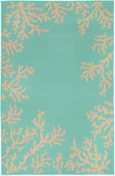 Trans-Ocean Terrace Coral Border 1783/93 Turquoise Area Rug