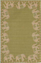 Trans-Ocean Terrace Marching Elephants 2772/56 Green Area Rug
