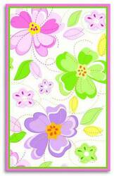 The Rug Market America Kids Flower Stitch 12352 White/green/pink Area Rug