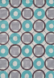 The Rug Market America Pop Accents Rounders Aqua/Gray/White Area Rug