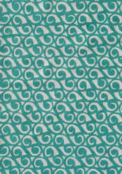 The Rug Market America Pop Accents Yang Teal/White Area Rug