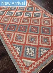 Rugstudio Sample Sale 81807R Burnt Brick - Medium Blue Area Rug
