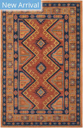 Rugstudio Sample Sale 174809R Tangerine - Navy Area Rug