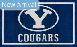 Luxury Sports Rugs Team Brigham Young University Blue Area Rug