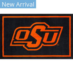 Luxury Sports Rugs Team Oklahoma State University Black Area Rug
