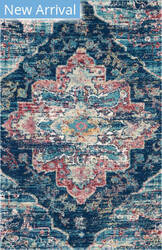 Nourison Fusion Fss15 Navy-Pink Area Rug
