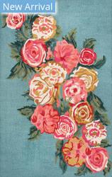 Famous Maker Rose Bouquet Light Blue Area Rug