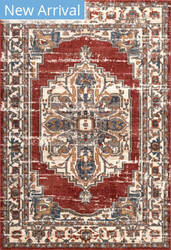 Famous Maker Transitional Lea Red Area Rug