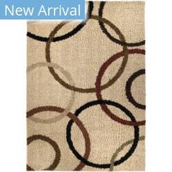 Orian Impressions Shag Circle Design Bisque Area Rug