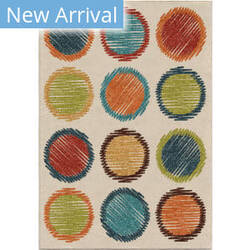 Orian Kids Court Circle Sketch Orange Area Rug