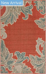 Trans-Ocean Riviera Ornamental Leaf 7648/24 Red Area Rug