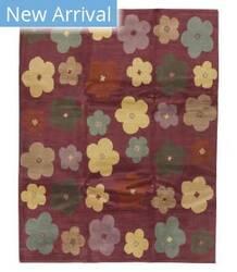 Tufenkian Tibetan Hand-Knotted Tibetan Magenta Floral Area Rug
