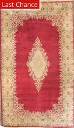 ORG Kerman Open Field Medallion Red-Ivory Area Rug