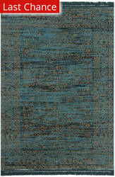 Rugstudio Sample Sale 155723R Turquoise - Gold Area Rug