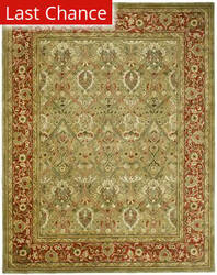 Rugstudio Sample Sale 50186R Light Green / Rust Area Rug