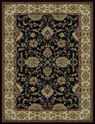 828 Rhine Collection RH01 BK Black with Ivory Border Area Rug