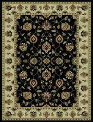 828 Rhine Collection RH03 BK Black with Ivory Border Area Rug