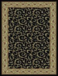828 Rhine Collection RH08 BK Black with Ivory Border Area Rug