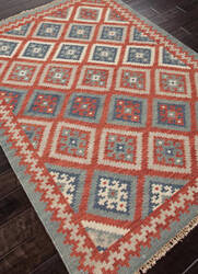 Addison And Banks Flat Weave Abr0013 Burnt Brick - Medium Blue Area Rug