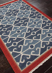 Addison And Banks Flat Weave Abr0015 Smoke Blue / Red Area Rug