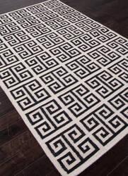 Addison And Banks Flat Weave Abr0710 Antique White - Ebony Area Rug