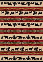 American Dakota National Park Bear Adventure Red Area Rug