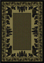 American Dakota National Park Bear Family Green Area Rug