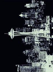 American Dakota Novelty Cityscape Black Area Rug