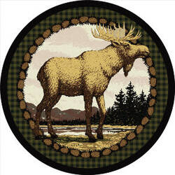 American Dakota Novelty Majestic Moose Green Area Rug
