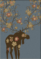 American Dakota National Park Moose Blossom Blue Area Rug