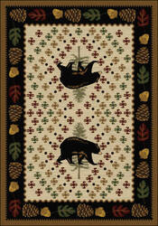 American Dakota National Park Patchwork Bear Brown Area Rug