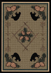 American Dakota National Park Pine Cone Bears Brown Area Rug