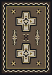 American Dakota Cabin Saint Cross Brown Area Rug