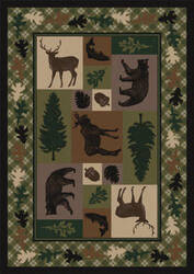 American Dakota National Park Wildlife Retreat Green Area Rug