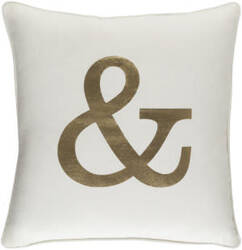 Surya Glyph Pillow Ampersand White - Metallic Gold