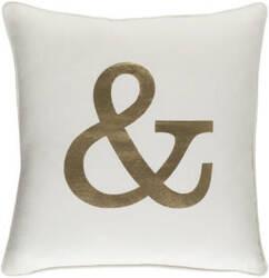 Surya Glyph Pillow Ampersand White - Metallic Gold