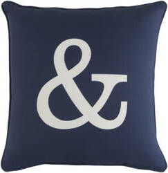 Surya Glyph Pillow Ampersand Navy - White