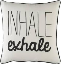 Surya Glyph Pillow Inhale/Exhale White - Black