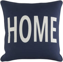 Surya Glyph Pillow Home Navy - White