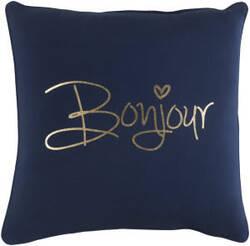 Surya Glyph Pillow Bonjour Navy - Metallic Gold