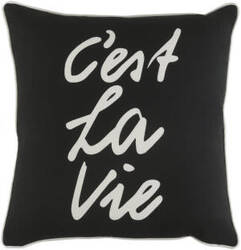 Surya Glyph Pillow C'est La Vie Black - White