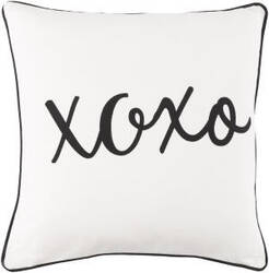 Surya Glyph Pillow Hugs And Kisses White - Black