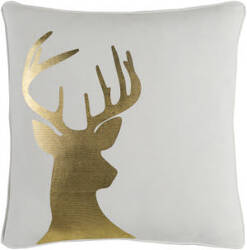 Surya Holiday Pillow Deer Holi7250 Metallic Gold