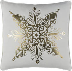 Surya Holiday Pillow Snowflake Holi7254 Metallic Gold