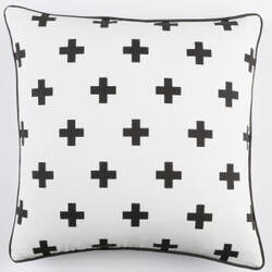 Surya Inga Pillow Cross White - Black