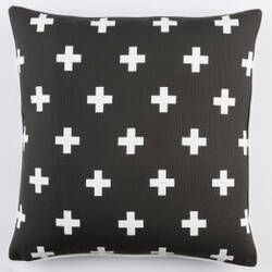 Surya Inga Pillow Cross Black - White
