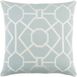 Surya Kingdom Pillow Porcelain Dusty Aqua - White